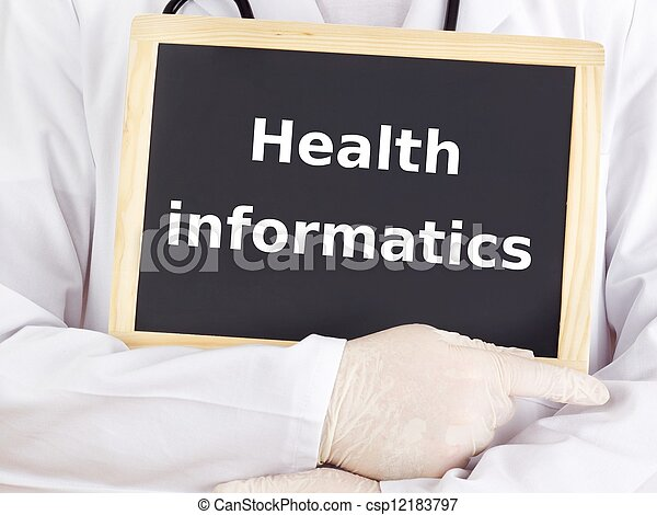 Doctor shows information: health informatics - csp12183797