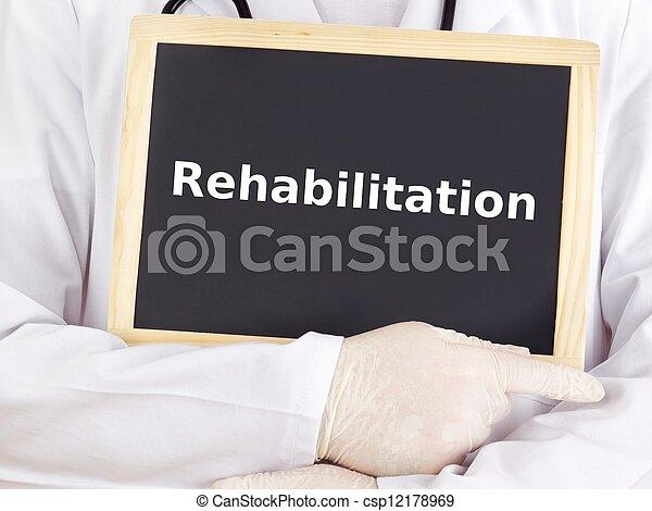 Doctor shows information: rehabilitation - csp12178969