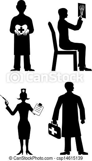 doctor silhouette set vector - csp14615139