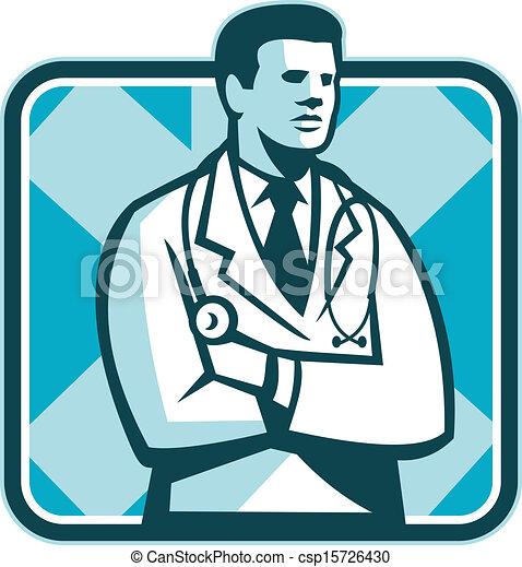 Doctor Stethoscope Standing Retro - csp15726430