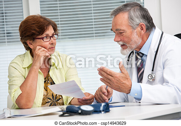Doctor talking to his female patient - csp14943629