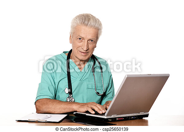 doctor with a laptop - csp25650139