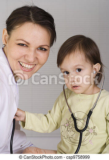 doctor with a nice child - csp9758999