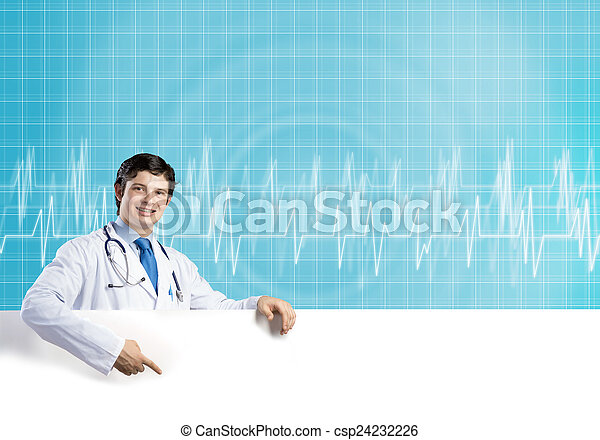 Doctor with banner - csp24232226
