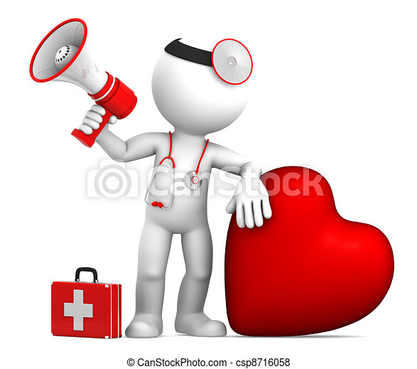 doctor with big red heart and stethoscope isolated on white rh canstockphoto com heart doctor clip art heart doctor clip art