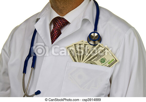 Doctor with dollar bills - csp3914889