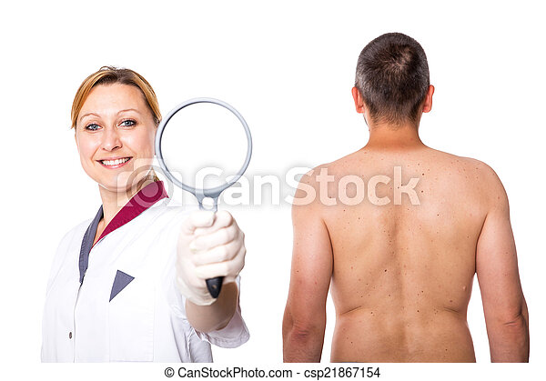 doctor with glass and a man - csp21867154