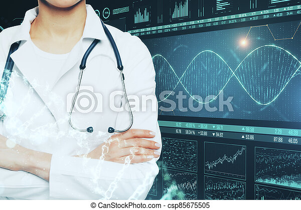 Doctor with stethoscope and glowing medical DNA interface - csp85675505
