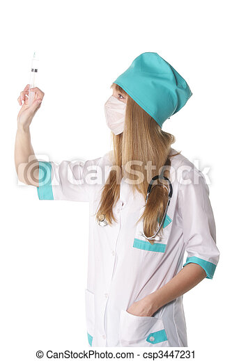 Doctor with syringe sideview - csp3447231