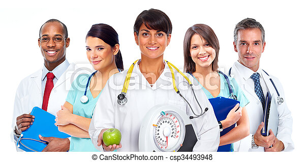 Doctor woman with scales and apple. - csp34493948