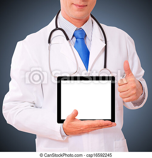 doctor working with tablet pc. - csp16592245