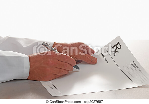 Doctor writing out prescription on RX form  - csp2027687