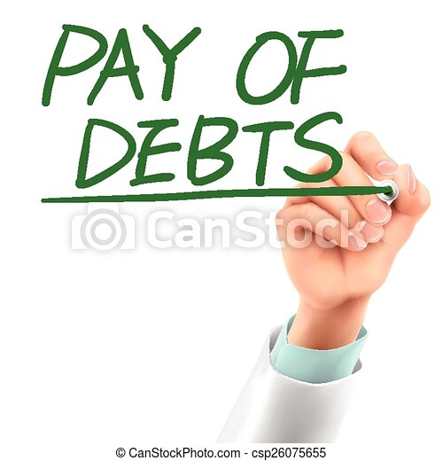 doctor writing pay of debts words  - csp26075655