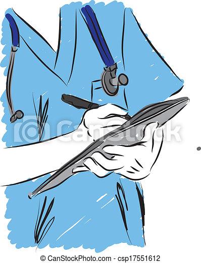 doctor writing prescription illustr - csp17551612