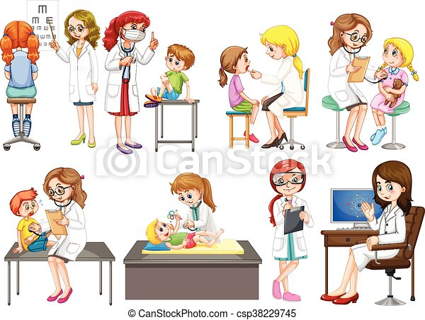 Doctors and patient at clinic - csp38229745