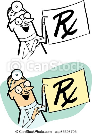 doctor s prescription a doctor holds up a giant vector clipart rh canstockphoto com prescription clipart black and white clipart prescription drugs