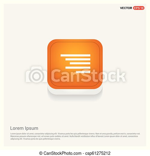 Document align icon Orange Abstract Web Button - csp61275212