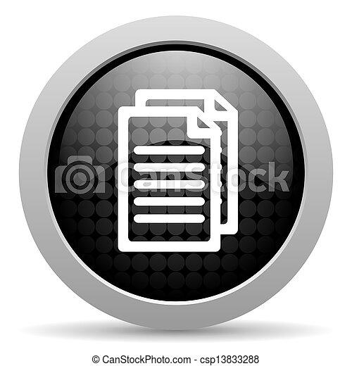 document black circle web glossy icon - csp13833288