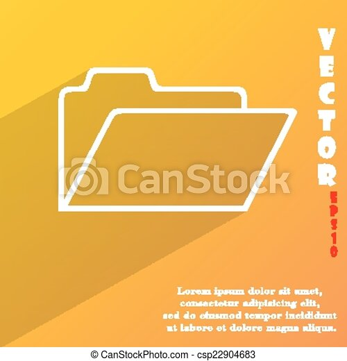 Document folder icon symbol Flat modern web design with long shadow and space for your text. Vector - csp22904683