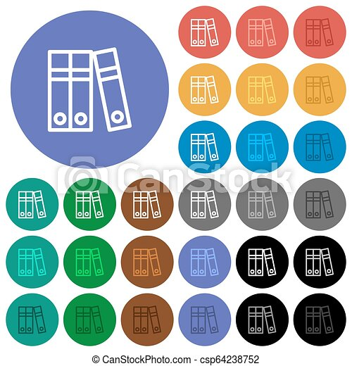 Document folders round flat multi colored icons - csp64238752