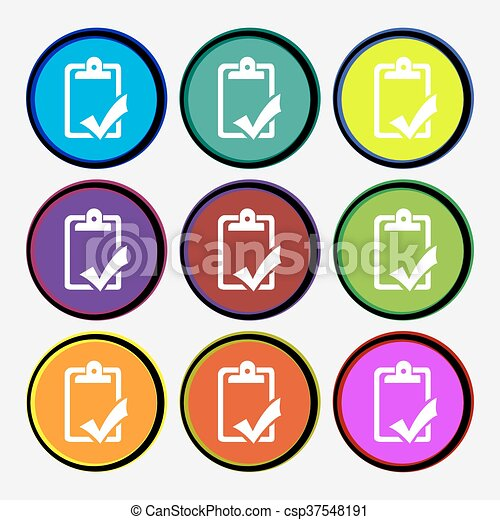 Document grammar control, Test, work complete icon sign. Nine multi colored round buttons. Vector - csp37548191