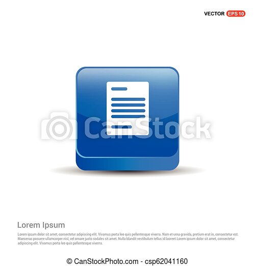 Document Icon - 3d Blue Button - csp62041160