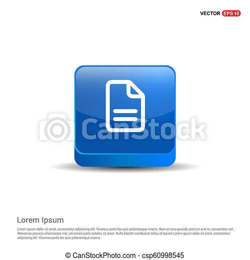 Document Icon - 3d Blue Button - csp60998545
