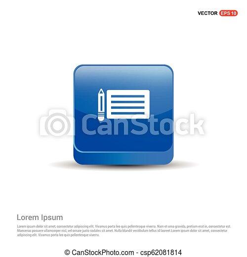 Document Icon - 3d Blue Button - csp62081814