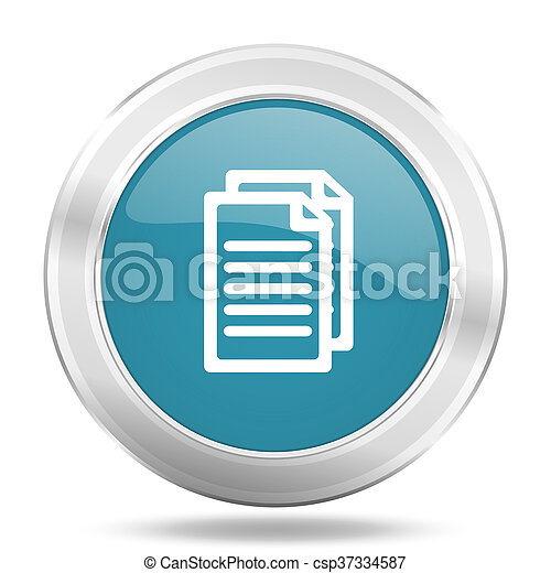 document icon, blue round glossy metallic button, web and mobile app design illustration - csp37334587