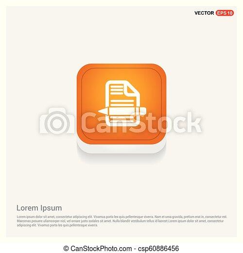 Document Icon Orange Abstract Web Button - csp60886456