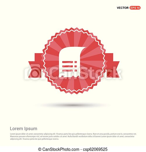 Document Icon - Red Ribbon banner - csp62069525