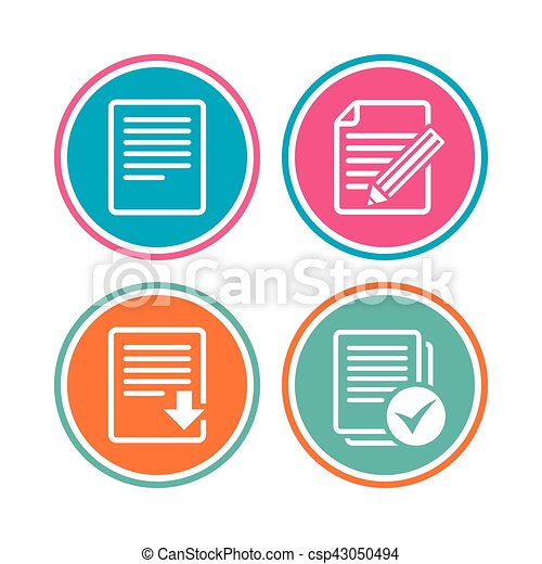 Document icons  Download file and checkbox