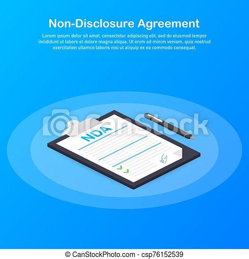 document., niet, nda., overeenkomst, illustration., vector, onthulling, ondertekening - csp76152539