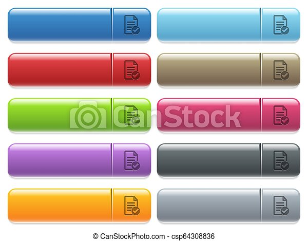 Document ok icons on color glossy, rectangular menu button - csp64308836