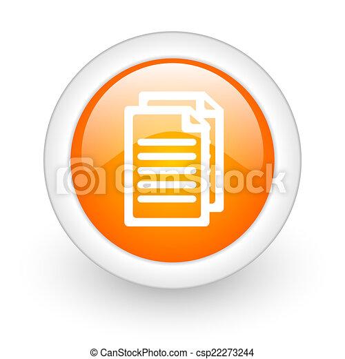 document orange glossy web icon on white background - csp22273244