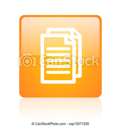document orange square glossy web icon - csp13071535