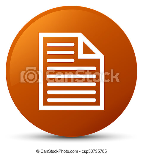 Document page icon brown round button - csp50735785