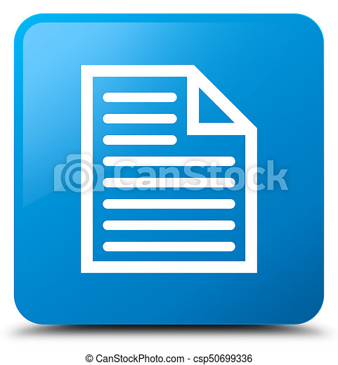 Document page icon cyan blue square button - csp50699336