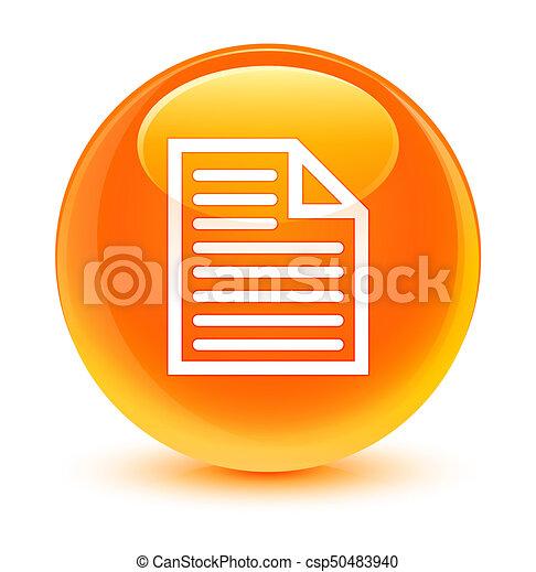 Document page icon glassy orange round button - csp50483940