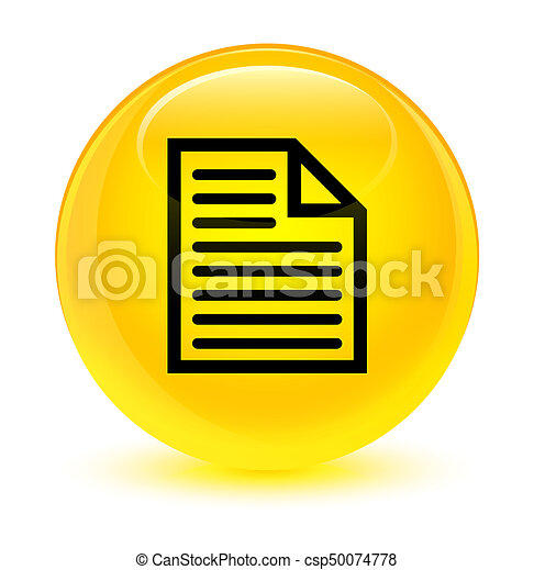 Document page icon glassy yellow round button - csp50074778