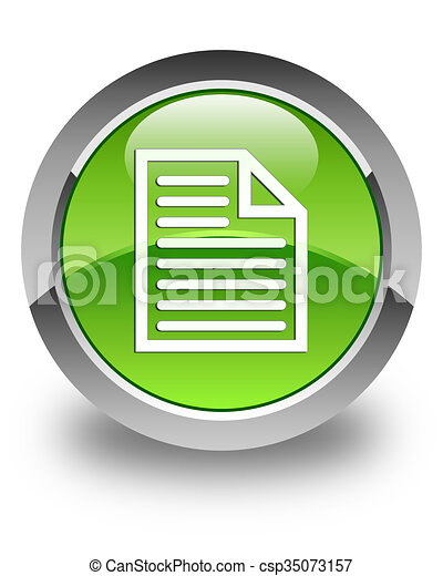 Document page icon glossy green round button - csp35073157