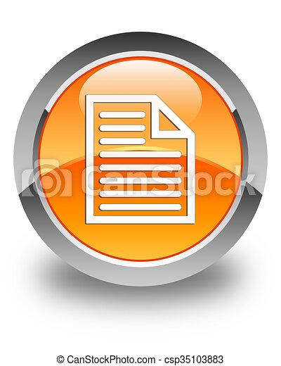 Document page icon glossy orange round button - csp35103883