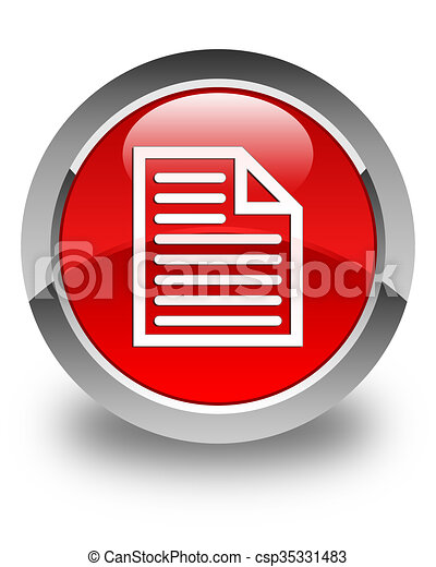 Document page icon glossy red round button - csp35331483