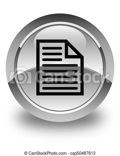 Document page icon glossy white round button - csp50487613