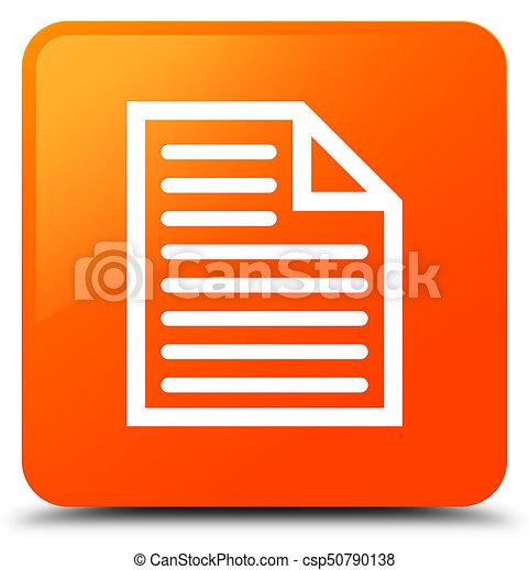 Document page icon orange square button - csp50790138