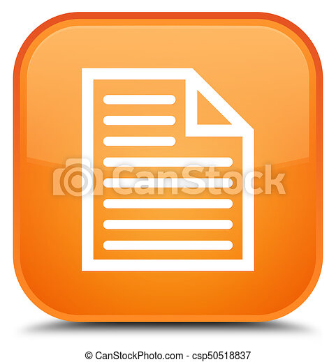 Document page icon special orange square button - csp50518837