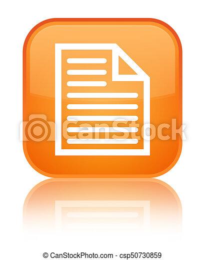 Document page icon special orange square button - csp50730859