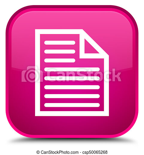 Document page icon special pink square button - csp50065268
