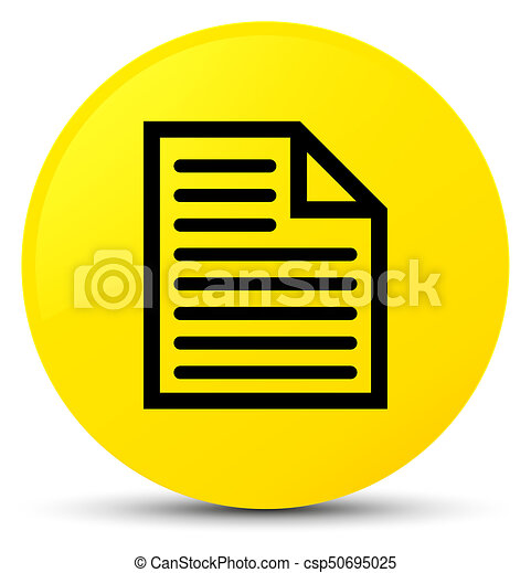 Document page icon yellow round button - csp50695025