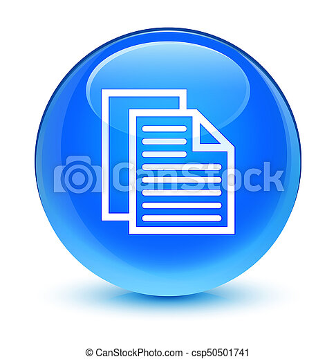 Document pages icon glassy cyan blue round button - csp50501741